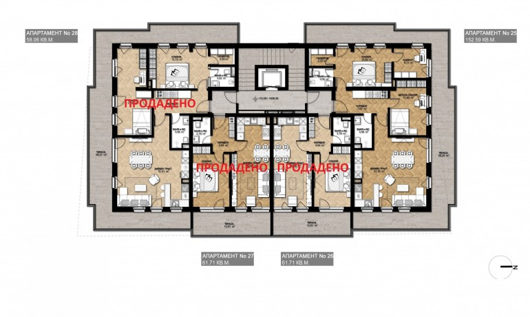 Ап. 25 – пентхаус с 2 спални
